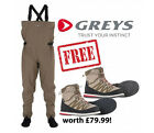 NEW - Greys STRATA CT Breathable Chest Wader With FREE WADING BOOTS worth £79!!