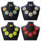 New Rhinestone Flower Jewelry Pendant Bib Charm Chain Statement Necklace Choker