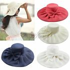 Women Lady Kentucky Derby Wide Brim Wedding Church Sea Beach Bow Linen Sun Hat