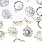Round CZ Metal Beads Pendants Connectors - Earring findings Jewelry Making #106