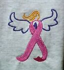 Pink Ribbon Angel Embroidered L/S T Shirt Breast Cancer Awareness Gray New S-3XL