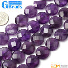 Coin Gemstone Smooth Faceted Amethyst Necklace Bracelet Beads Strand 15""