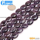 "Oval Gemstone Amethyst Beads Strand 15""Jewelry Making Beads"