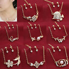 New Fashion Crystal Faux Pearl Women Chic Love's Gift Gold Necklace Earrings Set