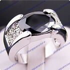 Jewelry Rings size 9-12 black sapphire Women's men's 10KT white Gold Filled Gift