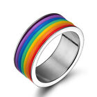 Size 6-13 Rainbow Color Stainless Steel Band Ring Women/Men's Fashion Jewelry