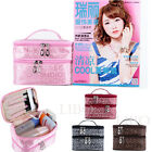 Double-deck Makeup Bag Cosmetic Container Portable Toiletry Organizer Holder