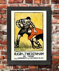 TX132 Vintage Rugby At Twickenham By Tram Framed Travel Poster Re-Print A3/A4