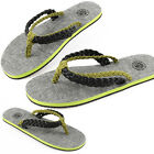 New Paperplanes Mens Premium Non Slip Flip Flops Sandals Black Green