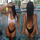 Womens Sexy Black White Monokini UK Swimsuit Low Rise High Waisted Ladies Bikini