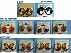 """NEW-HANDPAINTED CLOISONNE CATS CLIP ON BUTTON EARRINGS 1"""""""
