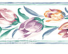 Watercolor Tulip White Purple Painted Light Red Vintage Wallpaper Wall Border