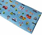 Childrens 'Happy Driving' Vehicles Craft Polycotton Fabric - Blue (1/4m - metre)