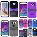 Hybrid Hard Case Cover w/ Kickstand w/ Screen Installed For Samsung Galaxy S6