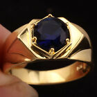 Yellow Gold Plated Men Dress Ring 6-prong Simulated Blue Sapphire Round Stone
