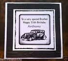 Handmade Personalised Birthday Card Vintage Car Son Father Partner Uncle ANY AGE