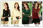 Sexy Lady Wear Lace Slim Top Long Sleeve Floral Collar Casual Apparel 4 Colors
