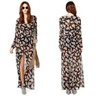 Women Deep V High Split Floral Boho Long Sleeve Maxi Dress Chiffion Summer Hot W
