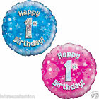 Happy 1st Birthday Party Foil Holographic Balloon 45cm 18cinch Party Decoration