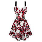 Womens White Floral Print Rockabilly Vintage Pinup Flared Party Mini Prom Dress