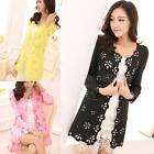 NEW Women Floral Lace Hollow Out Open Front Long Sleeve Candy Color Cardigan Top