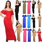 Womens Ladies Frill Strappy Cami Bardot Cold Open Off Shoulder Long Maxi Dress