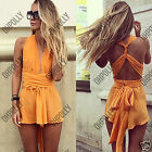 Womens Wrap Low Cut V Neck Romper Ladies Sleeveless Dress Summer Party Playsuit