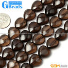 "Natural Gemstone Heart Shape Smoky Quartz Stone Beads Strand 15"" Jewelry Making"