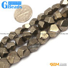 """Natural Faceted Gemstone Silver Pyrite DIY Crafts Making Beads15""""6mm 8mm 10mm"""