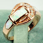 Jewelry Fashion Wedding Rings Size 6/7/8/9/10 Opal Women's 10Kt Rose Gold Filled