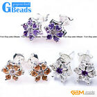 Fashion Jewelry Rhinestone Crystal Silver Plated Stud Earrings Sparkle CZ 1 Pair