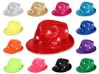 LED Party Karneval Trilby Blink Fedora Glitzer-Hut Pailletten Leucht-Hut Viper