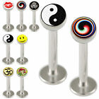 Pair logos labret lip bar steel tragus ring bars piercing 9HLR-SELECT SIZE&STYLE