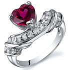 Heart Shape 1.75 cts Ruby CZ Ring Sterling Silver Sizes 5 to 9