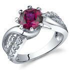 Regal Helix 1.75 cts Ruby Ring Sterling Silver Size 5 to 9