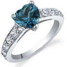 Dazzling Love 1.25 cts London Blue Topaz Ring Sterling Silver Size 5 to 9