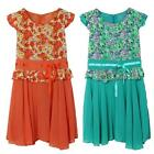 Women Ladies Dress Floral Print Pleated Ribbon Cap Sleeves Chiffon Hot M L