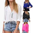 Women Ladies Chiffon Shirt Blouse Top Foldable Sleeve Slack Loose Hot L