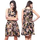 Women Chiffon Dress Sleeveless Crew Neck Floral Print Beach Summer Casual