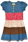 Girls Short Sleeve Denim Ditsy Print Dress Kids Summer Dresses New Age 2-8 Years