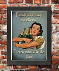 FV7 Framed Vintage Style Wine Women Food Cooking Alcohol Funny Poster A3/A4