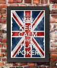 KC18 Framed Vintage Style Union Jack Keep Calm Play Poker Funny Poster A3/A4