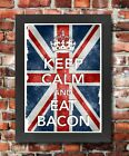 KC42 Framed Vintage Style Union Jack Keep Calm Eat Bacon Funny Poster A3/A4