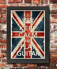 KCV30 Framed Vintage Style Union Jack Keep Calm Play Guitar Funny Poster A3/A4