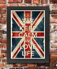 KCV37 Framed Vintage Style Union Jack Keep Calm Love Life Funny Poster A3/A4