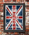 KC3 Framed Vintage Style Union Jack Keep Calm Carry On Surfing Poster A3/A4