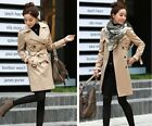 Women Double Breasted Jacket Belted Trench Coat Raincoat Windbreaker Parka Coat