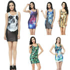 Cool Women Sleeveless Bodycon Dress Digital Print Club Summer Stretch Skirt WBUS