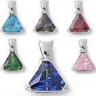 FREE SHIPPING! GEMSTONE Triangle Solitaire .925 Sterling Silver Pendant 7 COLORS