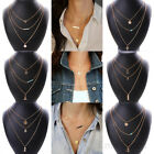 Gold Crystal Chain Bib Charm Pendant Statement Womens Necklace Fashion Jewelry